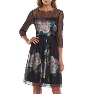 New S.L. Fashions Black Floral Dress 10 Belted NWT
